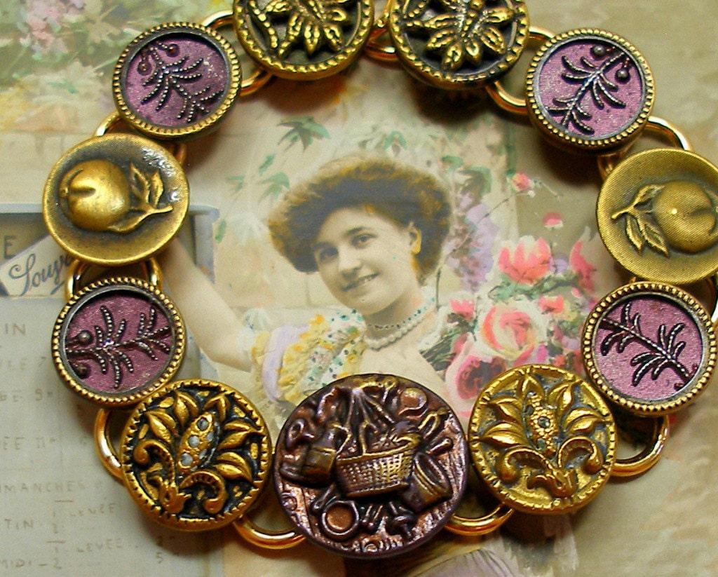 Victorian Garden BUTTON bracelet Antique buttons with Fruit