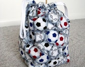 CLEAN SWEEP - Soccer Drawstring Knitting Project Bag
