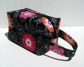 HOLIDAY SALE - Pink and Orange Flowers Zipper Box Knitting Project Bag