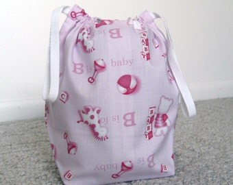 HOLIDAY SALE - Pink Baby Drawstring Knitting Project Bag