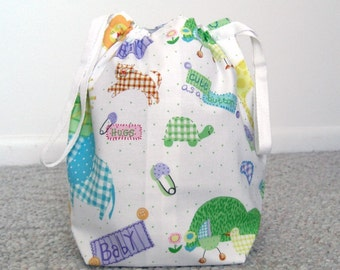 HOLIDAY SALE - Cute Baby Drawstring Knitting Project Bag