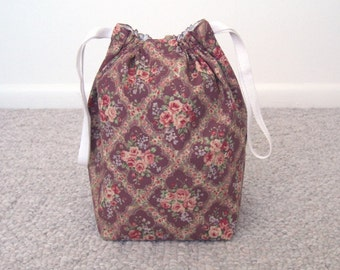 MOVING SALE - Victorian Flowers Paisley Drawstring Knitting Project Bag