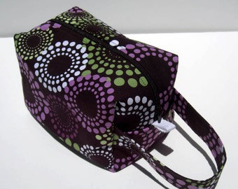 HOLIDAY SALE - Circle Dots Zipper Box Knitting Project Bag