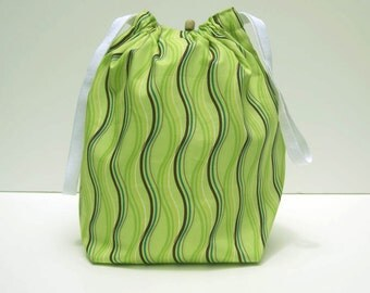 MOVING SALE - Green Wavy Stripes Drawstring Knitting Project Bag