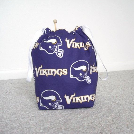 HOLIDAY SALE - Minnesota Vikings Drawstring Knitting Project Bag