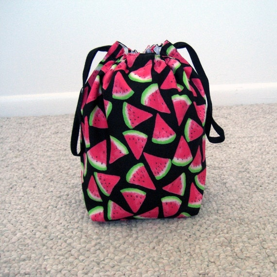 Knitting Project Bags For Sale : Sale watermelon drawstring knitting project bag by