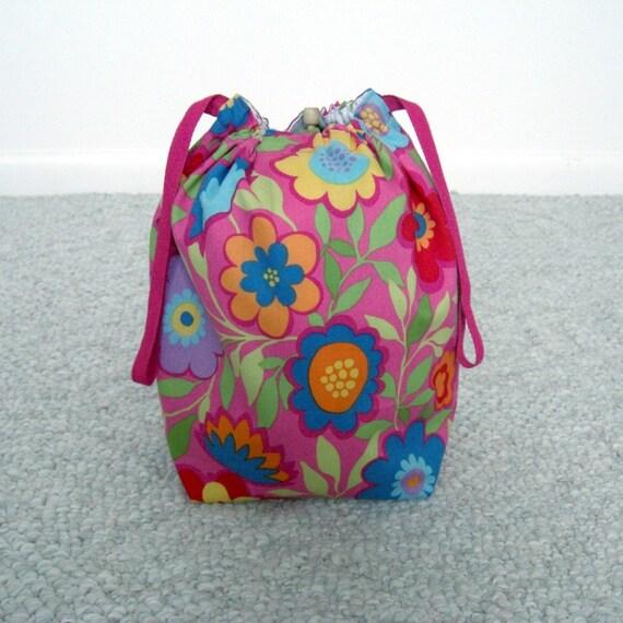 SALE - Retro Funky Flowers Drawstring Knitting Project Bag