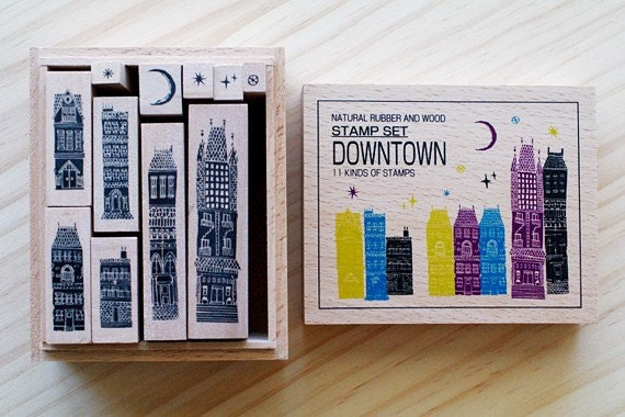 NEW - Wooden boxed - Downtown Stamps