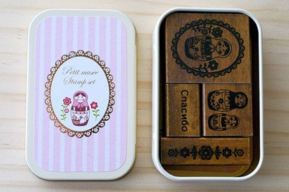 NEW - Wooden stamps in a can - Matryoshka doll