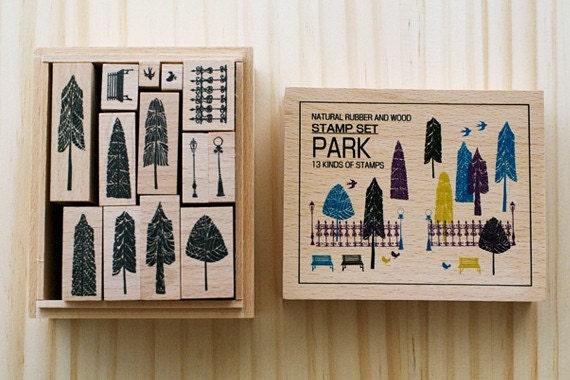 NEW - Wooden boxed - Park Stamps