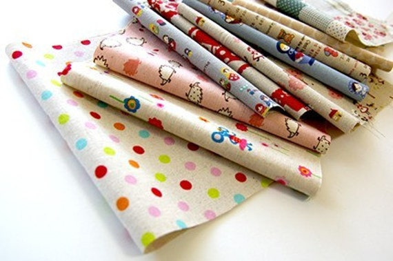 10pcs - Japanese pretty scrap fabric - Cotton and Linen