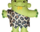 Green Felt Troll Monster Doll - Trevor