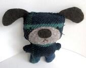 Blue Plaid Dog - Recycled Wool Plush Toy
