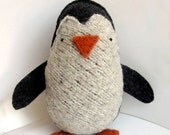 Big Charcoal Grey Penguin - Recycled Wool Plush Toy