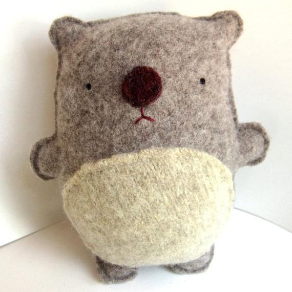 Big Mocha Brown Hamster  - Recycled Wool Plush Toy