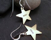 Star Dangle Earrings   WISH  Brass Stamped Sterling Ear Wire Earrings