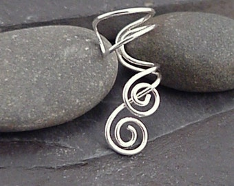 Sterling Silver Spiral EAR CUFF - ENTWINED