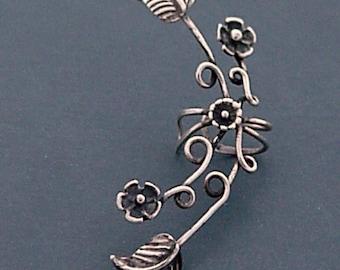 Sterling Silver Flower & Leaf EAR CUFF - EDEN Elaborate Sterling Silver Ear Wrap