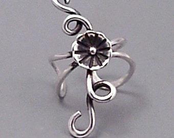 Sterling Flower EAR CUFF  -  BLOSSOM   Silver Handcrafted Ear Cuff