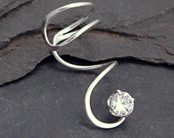 Sterling  CZ Ear Cuff - SPIRAL SPARKLE - Handcrafted Silver 925 Cubic Zirconium Earcuff