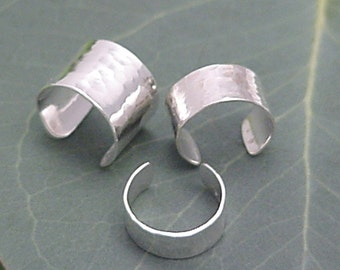 3 Sterling EAR CUFFS - Silver Hammered Band Ear Cuff Wraps