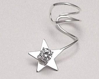 Sterling Star CZ Ear cuff - SPARKLE STAR - 925 Earcuff
