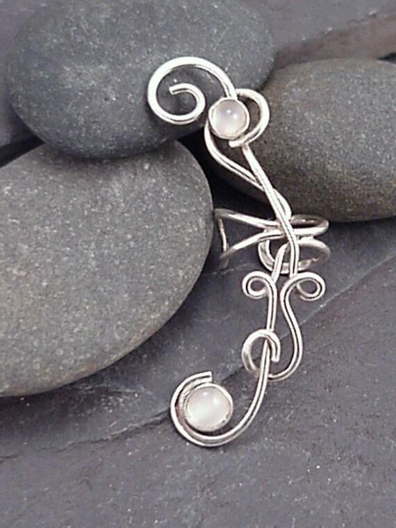 Silver Moonstone Ear Wrap  -  MOONFLOWER EAR CUFF -  Handcrafted 925 Sterling Earcuff