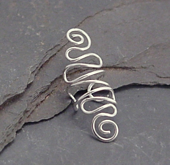 Sterling Ear Cuff  -  SPIRAL VERY EXTRAVAGANT -  Silver 925 Ear Wrap