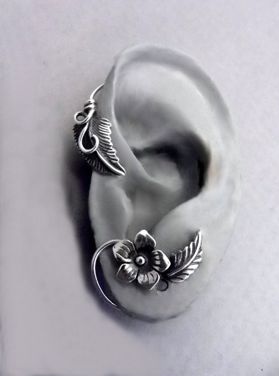 Sterling Flower and Leaf  Ear Wrap - SUMMER - Silver Ear Cuff Wrap for your LEFT ear