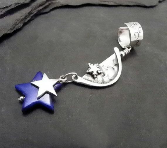 Sterling Star Dangle Ear Cuff  BLUE STAR  Lapis Silver Ear Band One of a Kind  OOAK