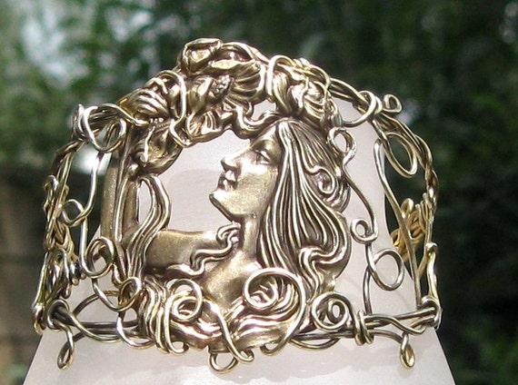 In The Garden  Wire Wrap Filigree Cuff  Bracelet