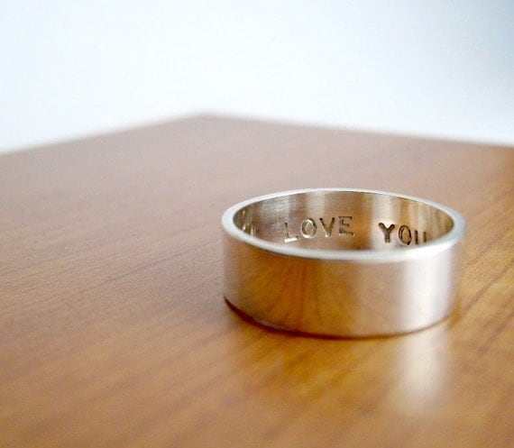 6mm Custom Secret Promise Ring -- Personalized size and sentiment in  - Block lettering - Recycled sterling silver
