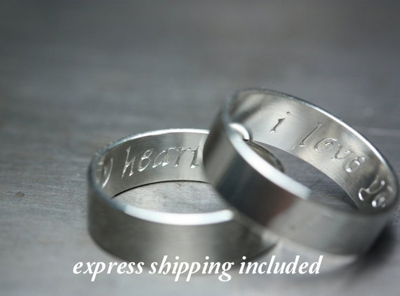 6mm EXPRESS shipping order: Calligraphy Lettering - Secret Promise Rings -- Custom TWO ring SET - Recycled sterling silver