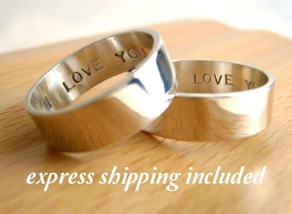6mm  EXPRESS shipping order: Secret Promise Rings -- Custom Personalized TWO ring SET -  with Block letter font - Recycled sterling silver