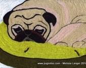 Yarn Painting Print - Sleeping Pug