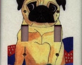 Double Switchplate - Fawn Pug in a Quilt