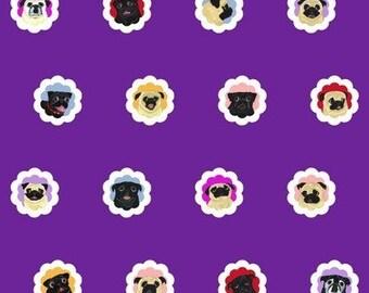 Pug Fabric - 16 Black and Fawn Pugs - 1 Yard - Groovy Pugs - Plumy Purple