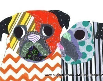 Pug Collage Note Cards - Pug Smile and Kiss - 2 Designs A68,A69