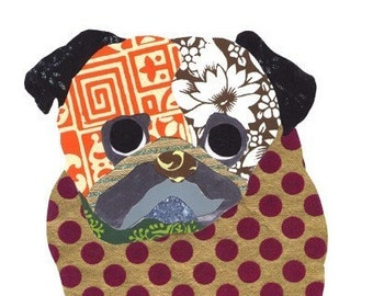 Pug Collage Note Cards - Seen In The Film - Dogs in Art - A56