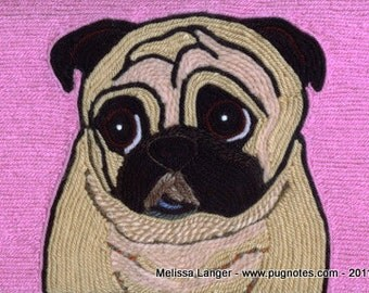 Pug Note Cards - Yarn Painting - Sweet Fawn Pug