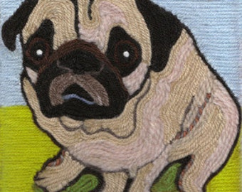Note Cards - Yarn Painting - Fawn Pug at the Park