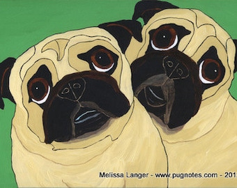 Note Cards - 2 Peas in a Pod ~ 2 Fawn Pugs ~ A67