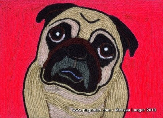 Pug Note Cards - Yarn Painting - Pug Love