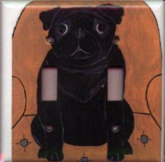 Double Switchplate - Black Pug on a Chair