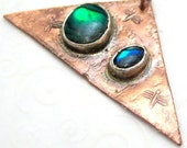 Blue Green Mother of Pearl Dragonfly Copper Triangle Pendant