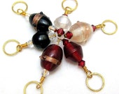 Handmade Stitch Markers Gold Copper Red Black Knit Crochet