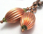 Copper And Olive Green Earrings Handmade