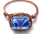 Copper Ring Handmade Copper Wire Wrapped Ring Blue and White Swirl Size 9