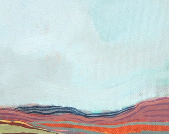 Original Abstract Landscape Painting - Heima 1, 6x6""