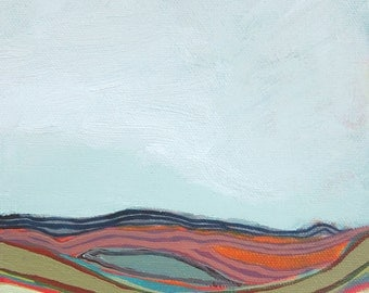 Original Abstract Landscape Painting -Heima 2, 6x6""